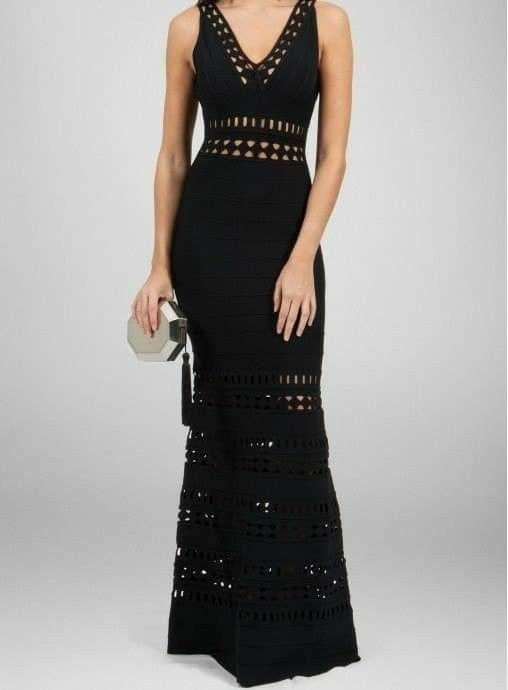 vestido largo a crochet negro