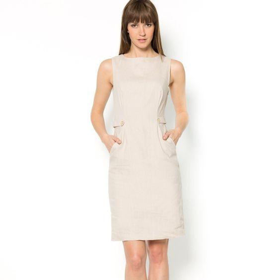 vestido lino entallado para la oficina