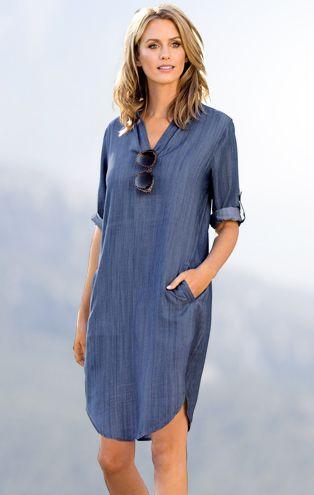 vestido tunica denim