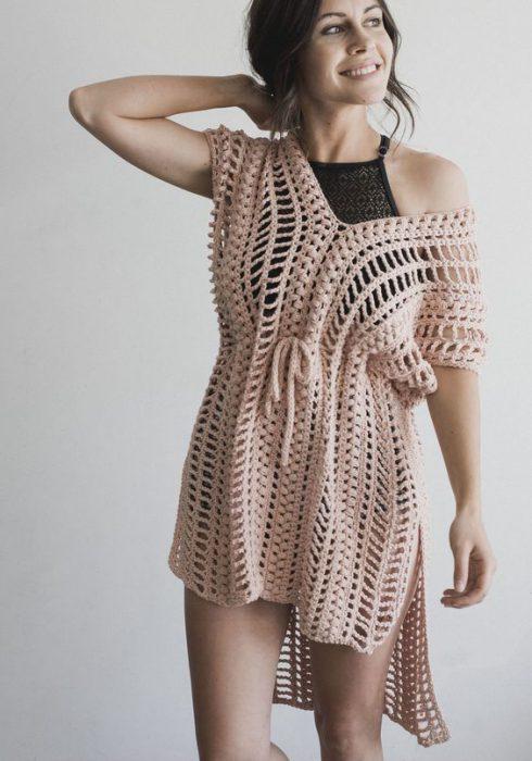 vestidos estilo tunica a crochet