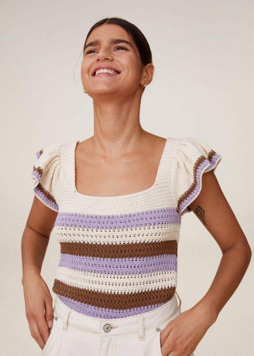 blusa a rayas tejida a crochet moerna