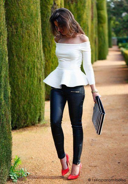 blusa blanca hombros descubiertos ajustada