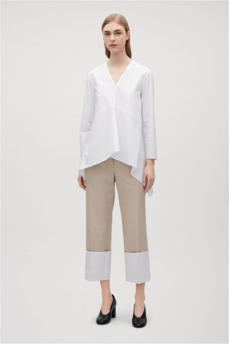 blusa blanca oversize con pantalon de vestir