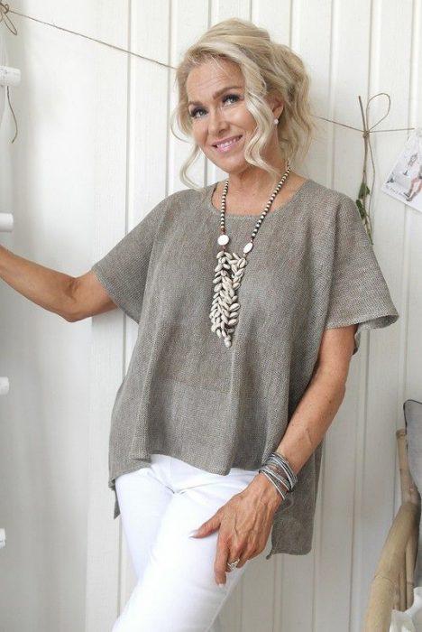 blusa de lino suelta para senoras