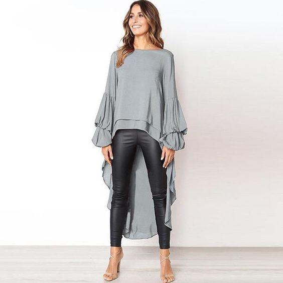 blusa gris con calza engomada