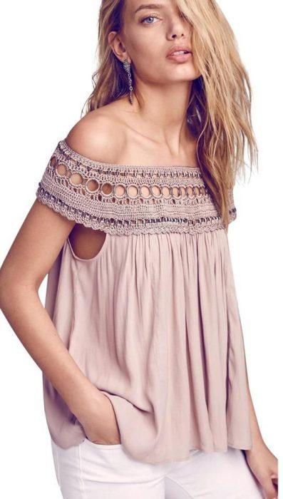 blusa hombros descubiertos estilo bohemio