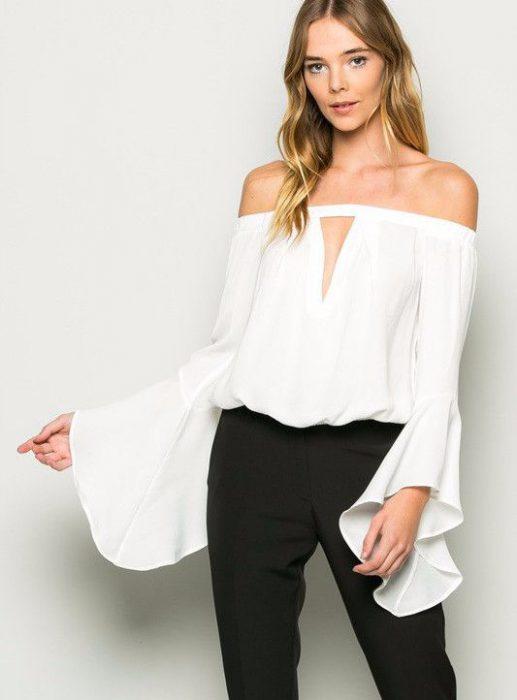 blusa hombros descubiertos formal 1