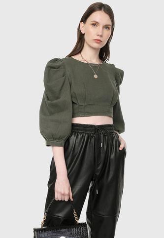 blusa verde oliva con jobber engomado negro