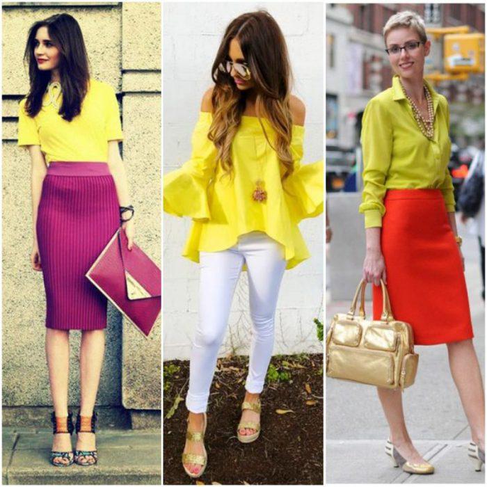 combinar una blusa amarilla