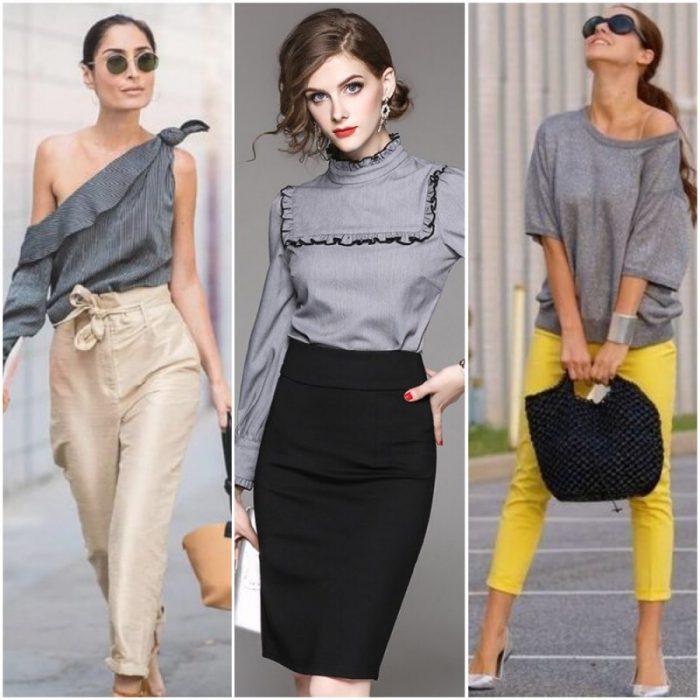 outfit con blusas gris