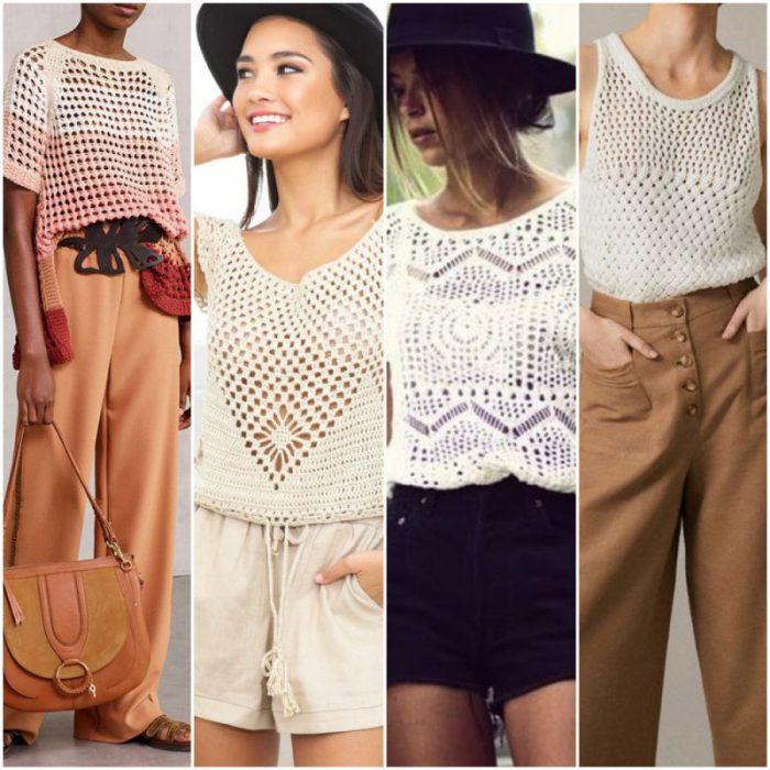outfits con blusas a crochet con disenos modernos
