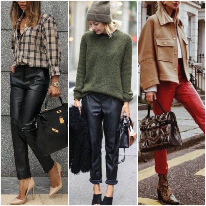 Outfits casuales formaes e informales con pantalon de cuero para mujer