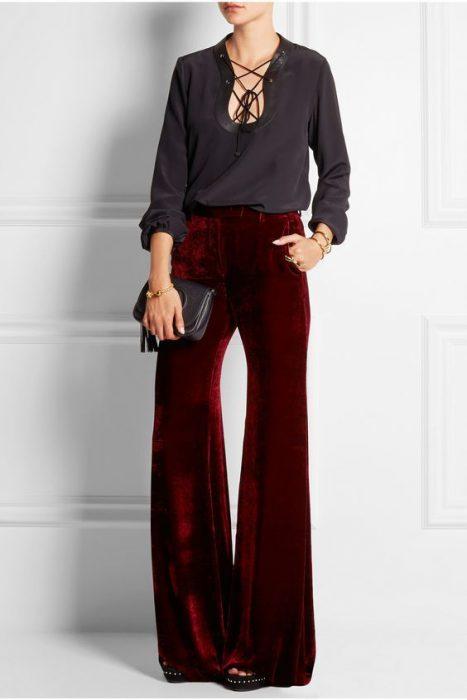 Pantalon oxford de terciopelo para mujer