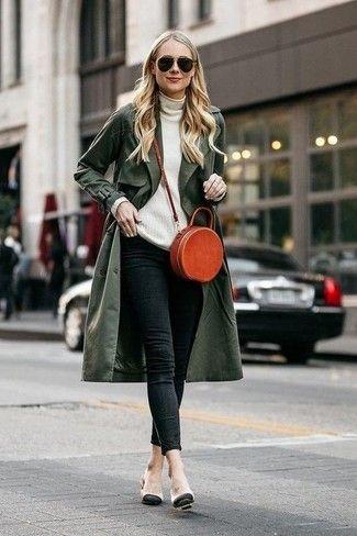 abrigo impermeable verde militar mujer