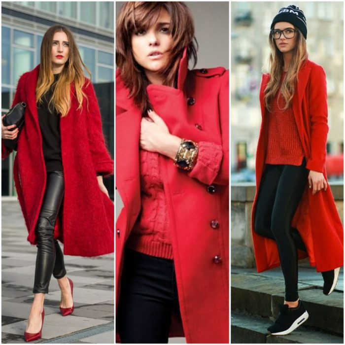 look con abrigo rojo mujer