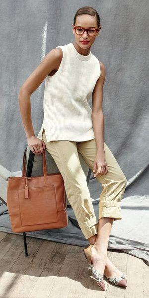 look formal de verano con pantalon chino para mujer
