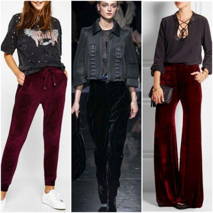 outfits para mujer con pantalon de terciopelo