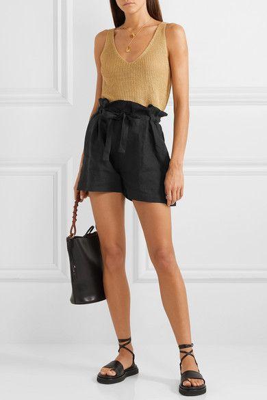 short negro de lino con top de hilo