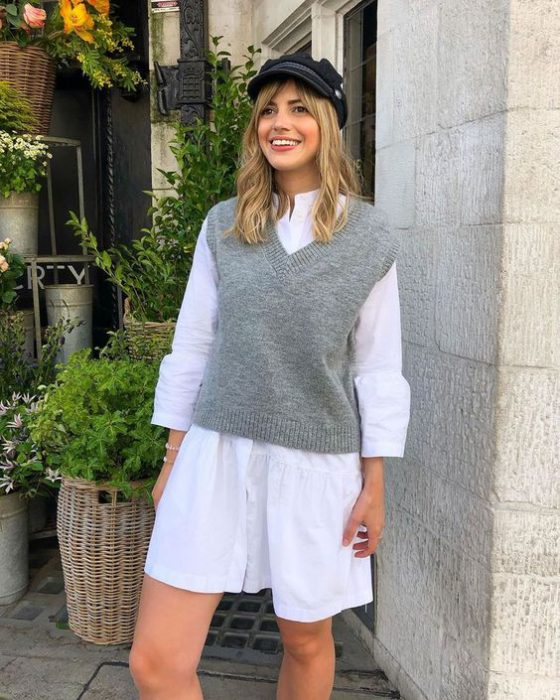 camisa larga con chaleco