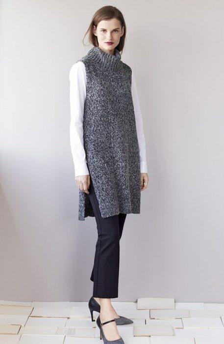 chaleco vestido largo tejido