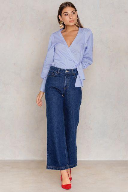 jeans ancho para un look formal