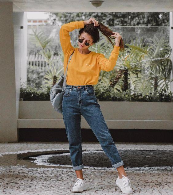 jeans recto y buzo de algodon