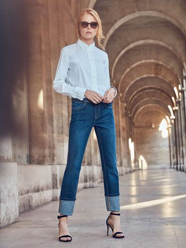 look clasico camisa y jeans recto