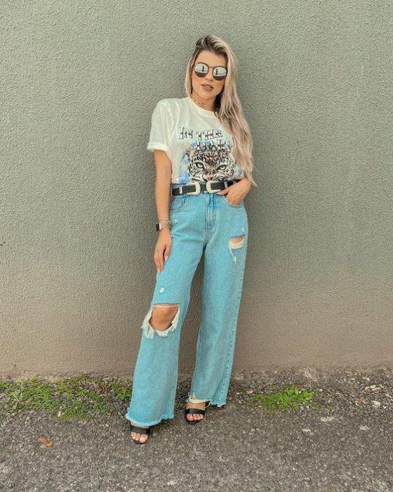 look informal con jeans ancho
