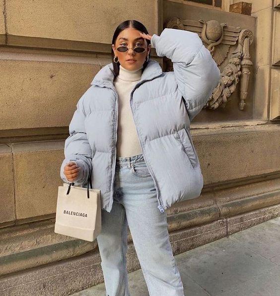 look moderno casual con campera inflada