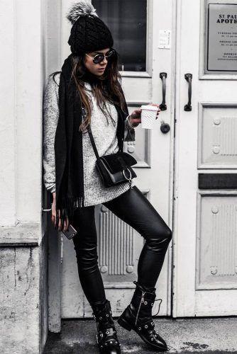 look moderno con gorra de lana mujer