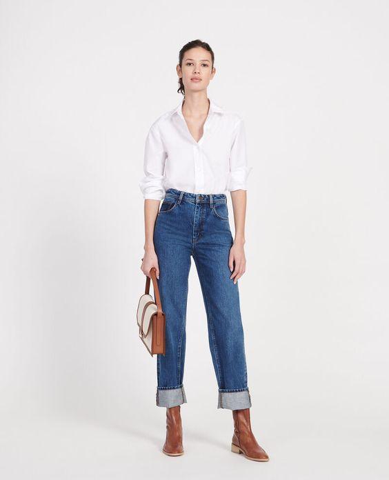 look semi informal para la oficina con jeans recto