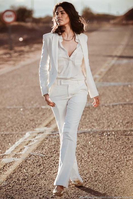 look total blanco con traje mujer