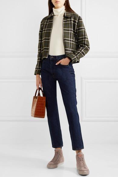 outfit invierno con jeans recto