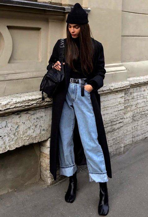 pantalon ancho con tapado largo