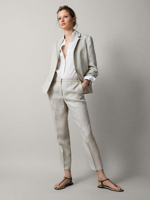 pantalon lino y blazer mujer