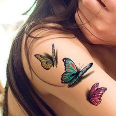 tatuaje de grupo de mariposas en 3d