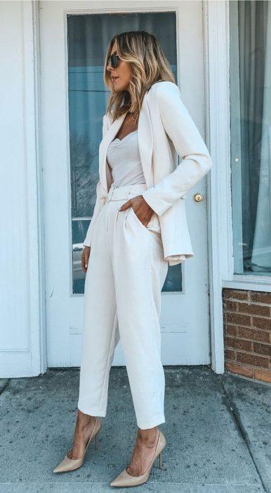 traje blanco juvenil mujer