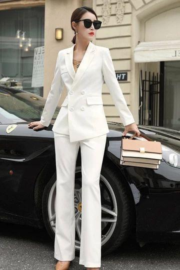 traje blanco mujer formal