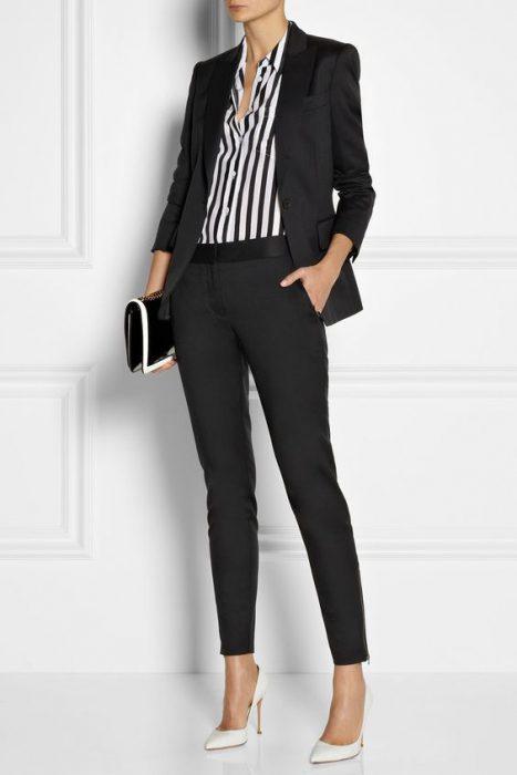 traje negro con pantalon chupin formal
