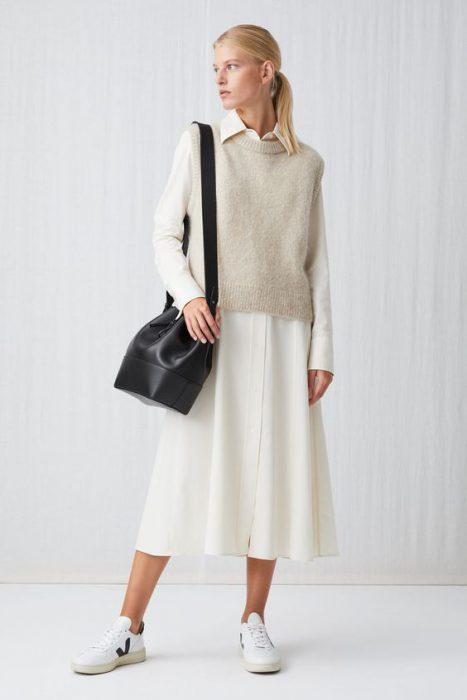 vestido largo camisero y chaleco