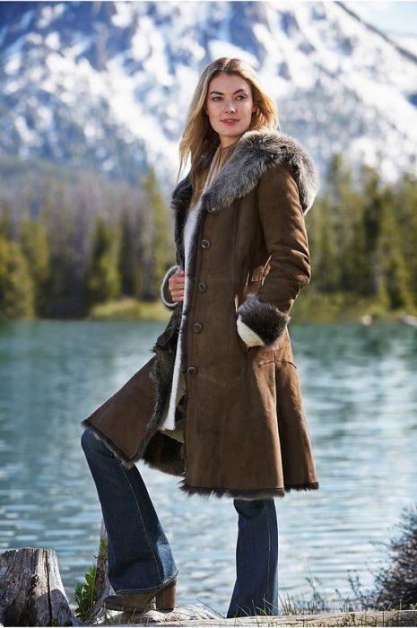 abrigo decuero y piel