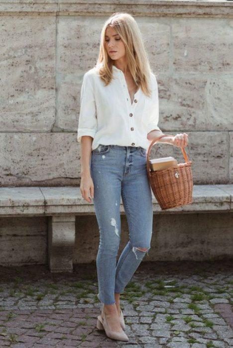 jeans claro verano casual