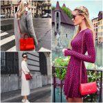 outfit con cartera roja