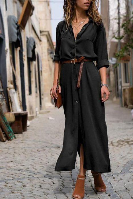 vestido largo con mangas para primavera