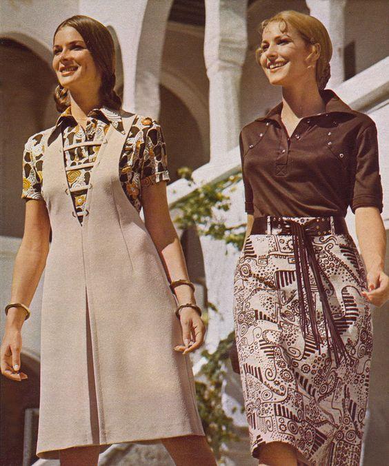 blusas y remeras cuello polo mujer anos 70