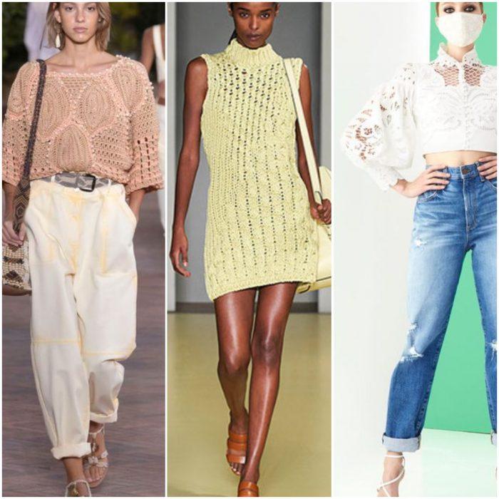 prendas con tejidos calados moda mujer verano 2022 tendencias