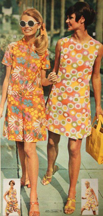 vestidos cortos anos 70