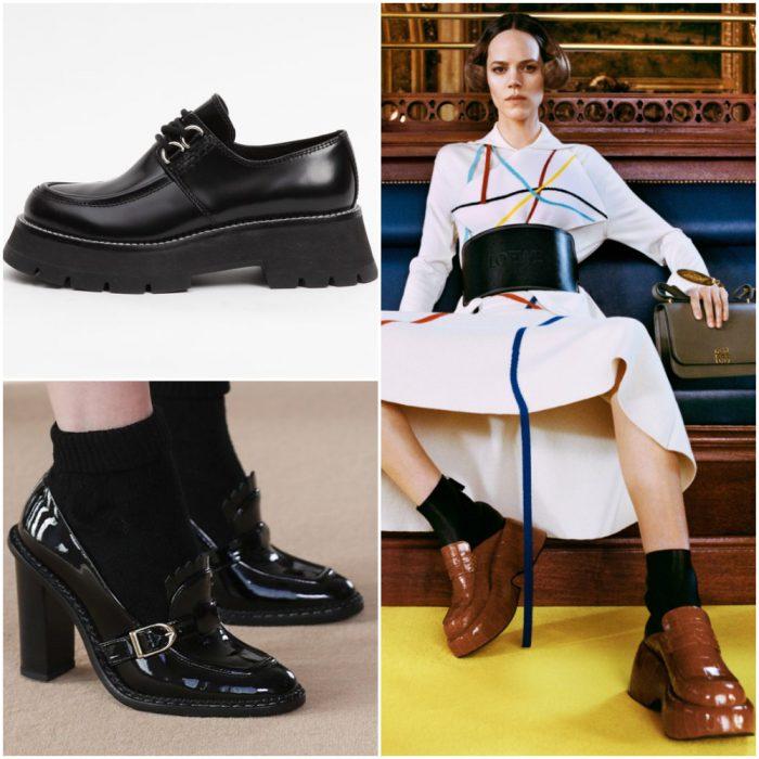 Mocasines con paltaformas y tacos calzado de moda invierno 2022