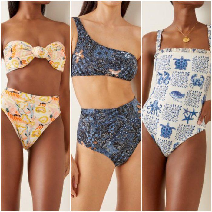 Trajes de bano de moda verano 2022 Estampa maritima