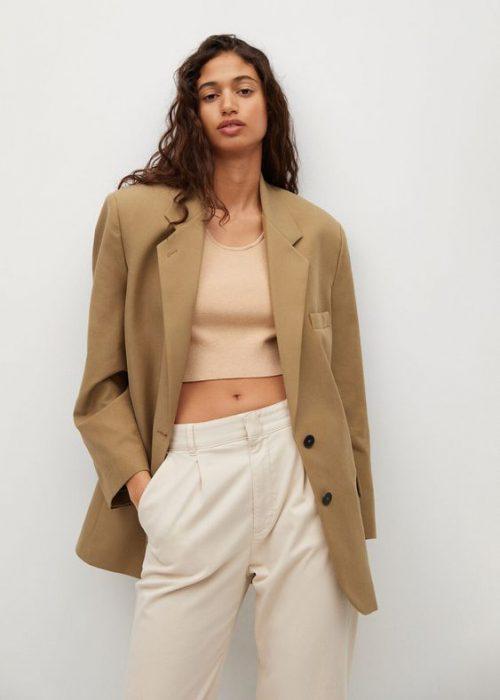 blazer beige oversize